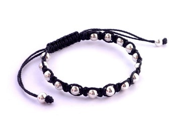 Silver tone metal beads macrame friendship bracelet