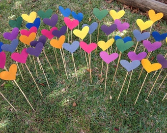 Aisle decor 100 Shabby chic hearts on a stick / Wedding aisle decoration/ Beach wedding /Garden wedding /Party decoration