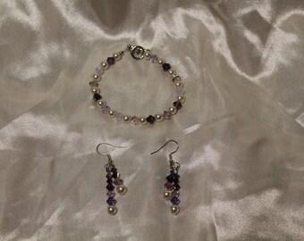 """Handmade Swarovski Crystal Bracelet set- """" Amethyst Whispers"""""""