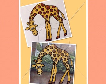 Giraffe window cling safari theme, hand painted decoration for glass & mirror surfaces, reusable static cling, faux stained glass decal