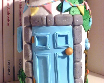 Fairy Beach House - Polymer clay glass storage jar