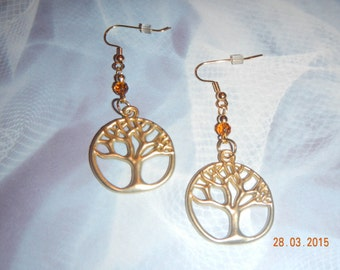 Tree of Life Gold-tone Earrings