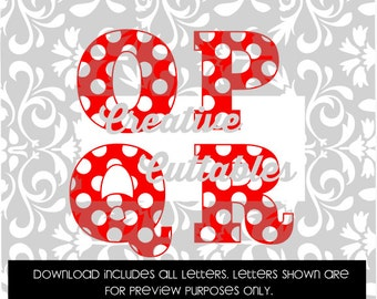 Polka Dot Letters Uppercase letters for  Silhouette or other craft cutters (.svg/.dxf/.eps)