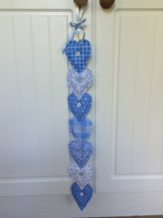 Decorative Wall Hanging Hearts : Blue fabric hearts wall hanging decor home by