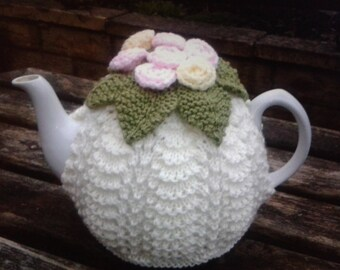 Lovely vintage inspired style Tea Cosy / Cozy. Hand knitted. Cream with Roses. Looks gorgeous on a teapot! Perfect afternoon tea accessory