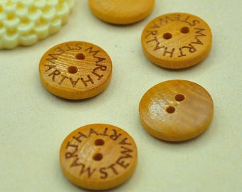 25pcs Round Wooden Buttons-- 14mm With 2 Holes,, Boxwood Buttons Special Words carved  Wooden Buttons .Natural Sewing Supply.Diy Buttons.