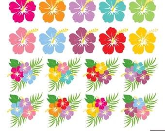 Hibiscus Digital Clipart, Hawaiian Flower Clipart