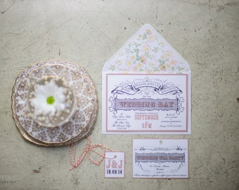 Vintage Tea Party Wedding Invite and RSVP