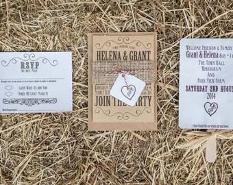 Rustic festival Wedding invitation and RSVP