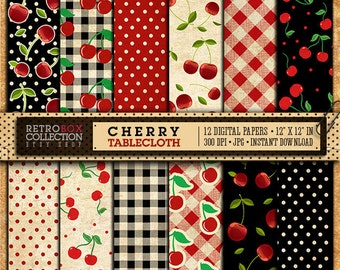50% OFF Cherry Digital Paper Cherry Wallpaper Vintage   12 Digital Papers  Pack Printable Collage