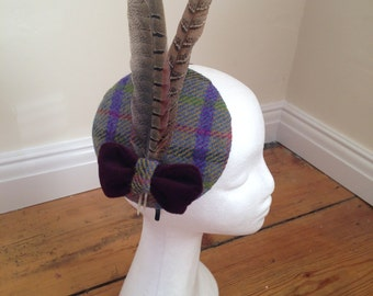Harris Tweed and pheasant feather fascinator with purple velvet bow detail