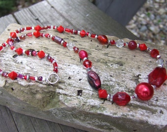 """FREE SHIP! Beaded Necklace - Beautiful Red Classic Beaded 20"""" Necklace and 8"""" Bracelet Set - of Vintage and New Components"""