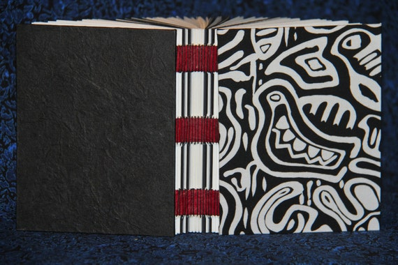 Aboriginal Fabric (B&W) Handbound Journal with Red Tapes and Black Waxed Linen Thread