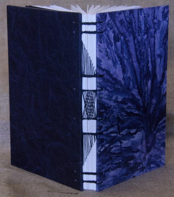 """Handbound Navy Blue """"Tie Die Fabric Journal"""