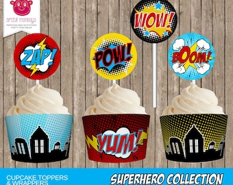 Printable Superhero Cupcake Toppers and Wrappers