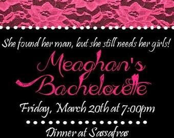Printable pink lace bachelorette invitation