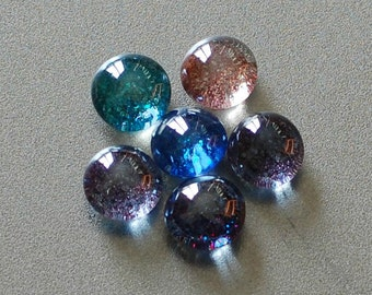 Glass Flat Marble Glitter Magnets - Rare Earth Magnet Used for Extra Strength!  Set of 6!