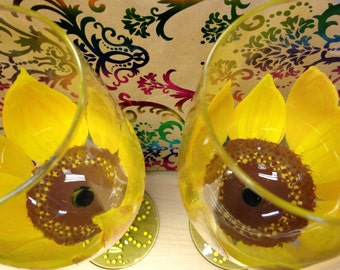 Set of 3 Hand painted Sunflower wine glasses, Sunflower wine glass, wine glass, wine,Sun Flower, hand painted