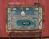 """Jonah and the Whale PAPER rug hooking pattern. Jonah doll for play is also available. Full size pattern 37x25"""". Processing time is 1-3 days"""