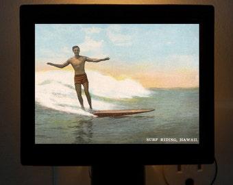 Nightlight Surfing Legend Duke Kahanamoku Hand Tint Postcard Colorful Bedroom Bathroom Bridal Gift idea
