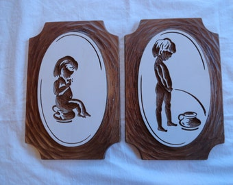 Set of Two 1974 Modern Art Company Inc. Ceramic Pictures