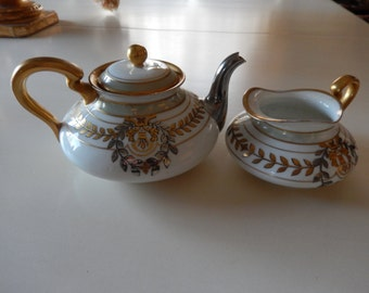 FRANCE LIMOGES La Seynie PP Teapot and Creamer