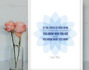Lao Tzu quote, Printable Wall Art, Zen quotes, Inspirational prints, Zen digital poster, Education posters, Spiritual art, INSTANT DOWNLOAD
