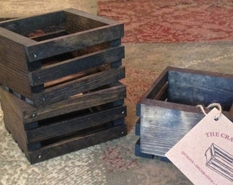 "Valu-Pak 3 Piece Small Wood Crates - 6""L x 5""W x 3  1/4""D - Crates - Decorative Crate - Apple Crate - Organizers - Wooden Box - Gift Crate"