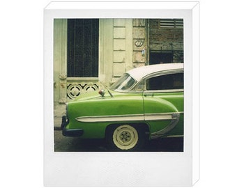 Vintage Polaroid of Green Cuban Car No. 1 Canvas Print