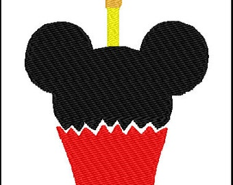 Mickey Mouse Cupcake Embroidery Design