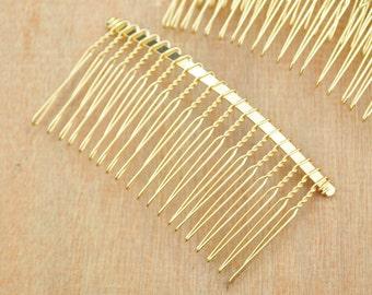20 teeth Gold Hair Combs--10pcs Gold Plated Hair Combs,Wedding Bridal Accessory,DIY Wholesale Metal hair comb--75x38mm.