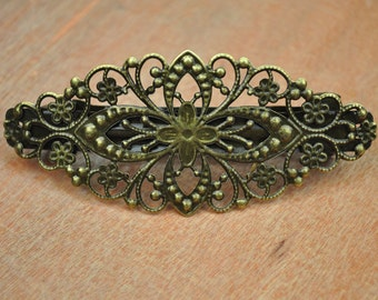 Handmade French Barrette Antique Bronze Hair Clip,5pcs Bronze filigree flower French Barrettes Clips,filigree metal clips 78x35mm