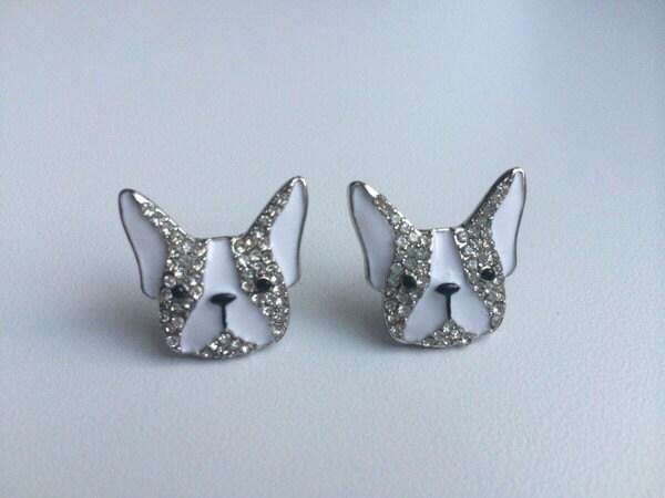french bulldog rhinestone earrings french bulldog jewelry