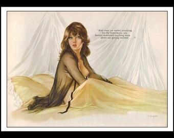 "Vargas Playboy Pinup Girl Vintage June 1966 ""Honeymoon"" Sexy Brunette Nude Mature Black Negligee Wall Art Deco Print"