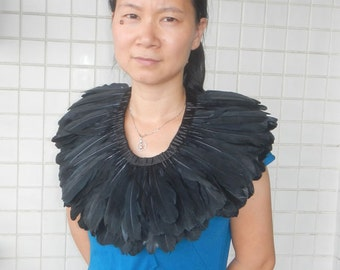 Handcrafted goose feather collar #TCE588W