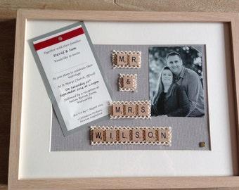 Personalised Scrabble Art Wedding Gift
