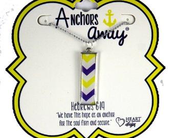 Yellow & Blue Chevron Rectangle Anchors Away Necklace