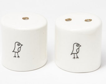 Ceramic Salt and Pepper Shakers - Tiny Birdy