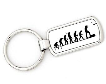Mans Evolution Keyring Ape to Bird Watcher (twitcher) metal key ring gift present