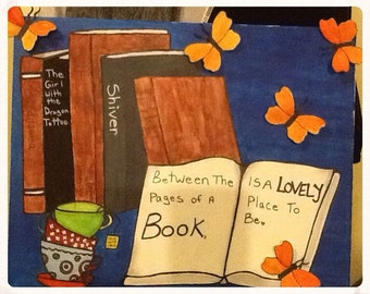 Books, i love to read, reading room, favourite books, pages, tea/coffee, customizable, handmade canvas,