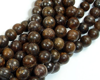 Bronzite Beads, 8mm Round Beads, 15.5 Inch, Full strand,  Approx 50 beads, Hole 1mm, A quality (174054005)