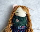OOAK Art Handmade Fabric Doll - Hazel the Mouse No.1 Forest friends series