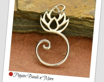 Sterling Silver Lotus Charm Holder