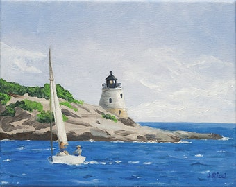 8x10 Oil Painting of Castle Hill Light, RI