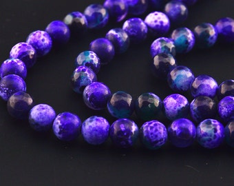 15inch deep Faceted Round Purple Fire Agate Beads Gemstone Round Beads 8mm