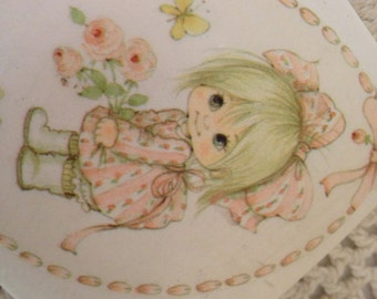 """Vintage Little Girl Small Wall Plaque Pink  Nursery Decoration 3"""""""
