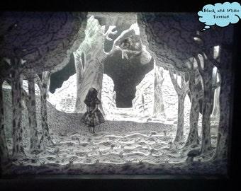 Alice Adventures In Wonderland Illuminated 3D Shadow Box/ Cheshire Cat, Light Box, Night Light