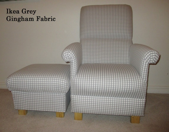 Ikea Conservatory Furniture : Ikea Berta Ruta Grey Gingham Fabric Adult Chair & Footstool Pink Check ...