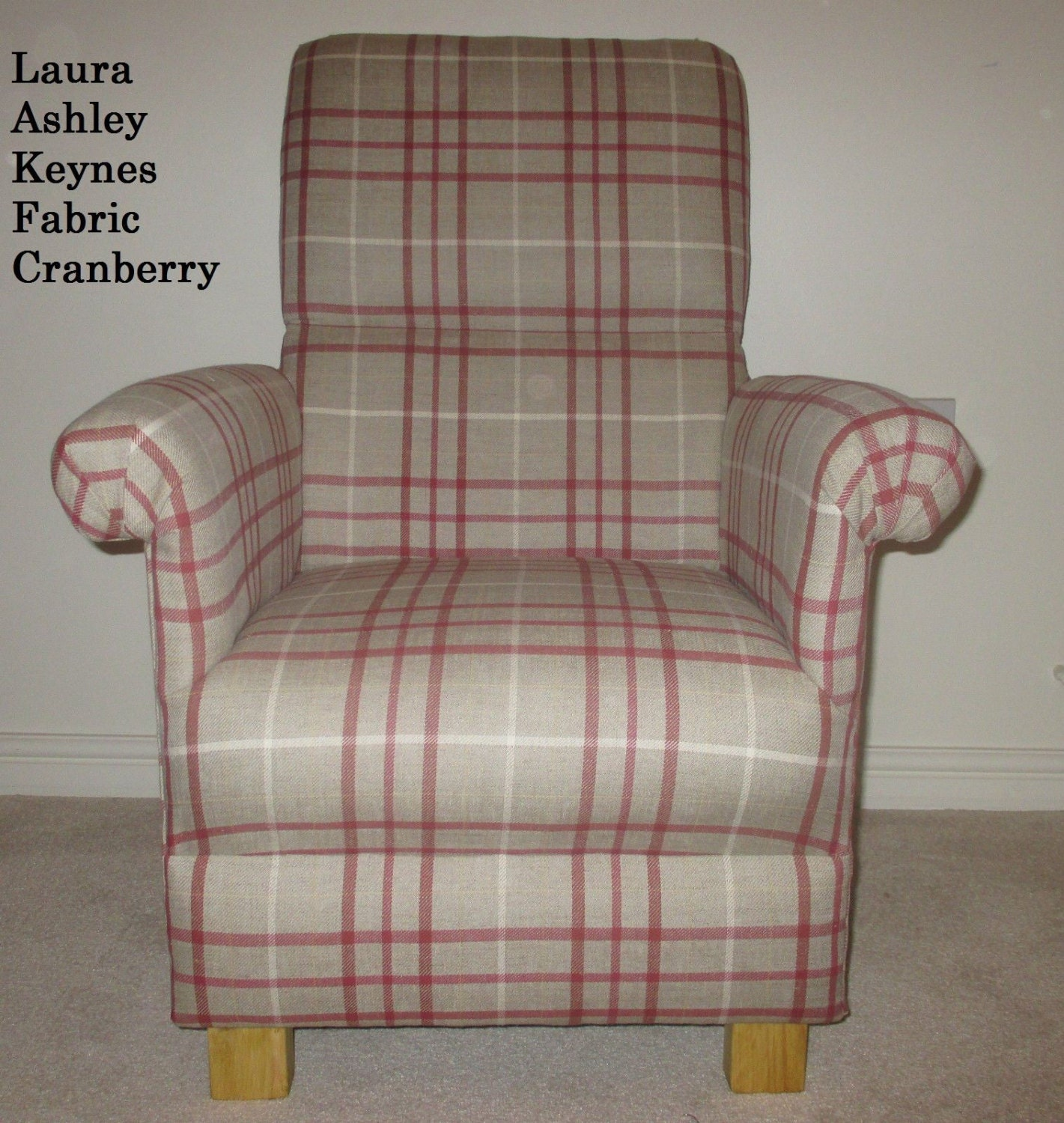 Ashley Home Furniture Prices: Laura Ashley Keynes Fabric Cranberry Adult Chair Beige Check