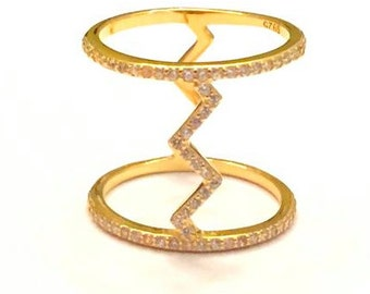 Zig zag ring available in gold with CZ